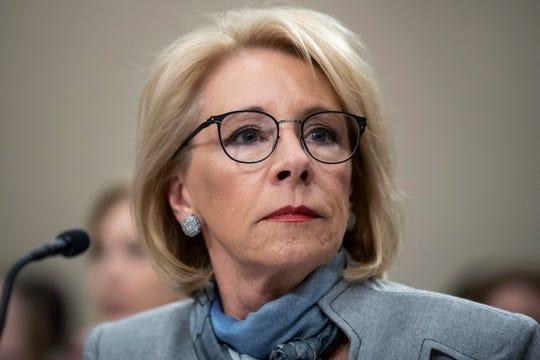 Education Secretary Betsy DeVos is pictured on Feb. 27, 2020.