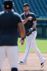 Detroit Tigers CJ Cron during the training camp at Comerica Park in Detroit, Tuesday July 7, 2020.