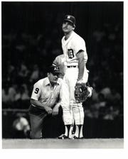 Tigers first baseman Richie Hebner reacts when he hears the call by umpire Bill Kunkel, calling Royals' Willie Wilson safe in the fifth inning Tuesday, Aug. 25, 1981 at Tiger Stadium.