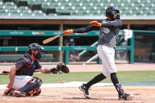 Detroit Tigers third baseman Harold Castro bats during summer camp at Comerica Park in Detroit, Tuesday, July 7, 2020.