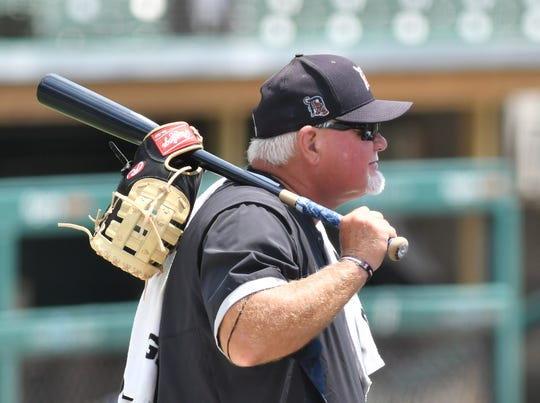 Tigers manager Ron Gardenhire watches live batting practice at Comerica Park.