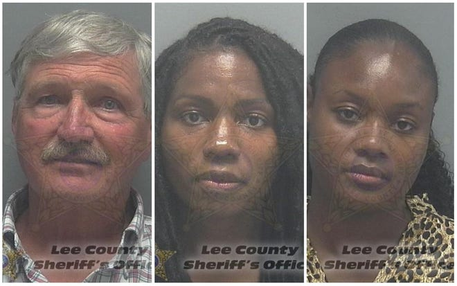 Three people were arrested for causing a disturbance and attempting to enter Cape Coral's City Hall through a restricted stairwell on Monday, July 7, 2020. They were (from left) Kenneth Scott, 70, of Colorado; Edmee Chavannes, 39, of New York; and Bevelyn Beatty, 29, of Maine.