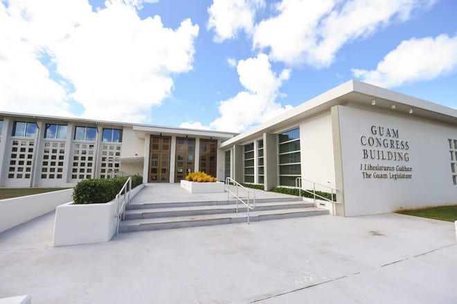 The Guam Congress Building in Hagåtña on July 7, 2020. Lawmakers Wednesday morning are scheduled to discuss three virus-related bills that could change this year's elections.
