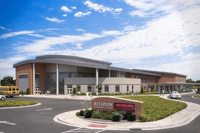 An artist's rendering shows the new Jefferson Elementary School, which will be built behind the football field at South Middle School. The city codes office issued a nearly $18 million permit for the project last month.