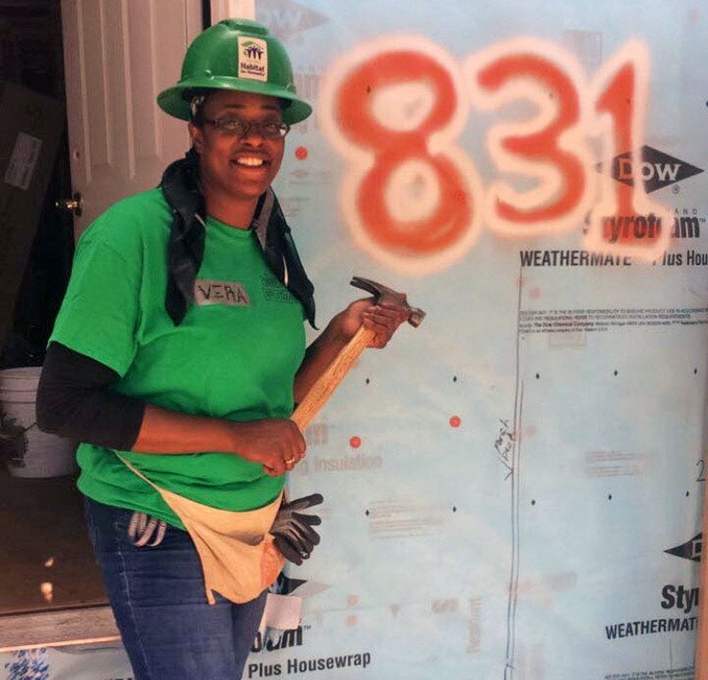 LaVera Jeffrie works on completing the required 250 hours of sweat equity in the Twin Cities Habitat for Humanity program.
