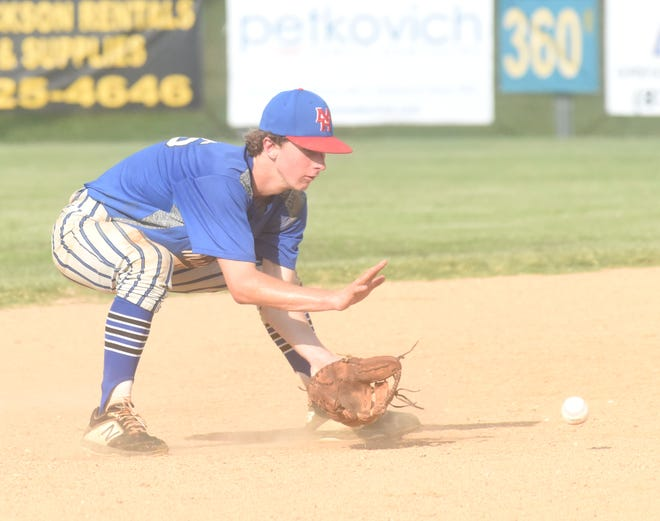 MacLeod shortstop Reed Ellison fields a ground ball during the team's 5-2 victory over Flippin on Monday at Cooper Park.