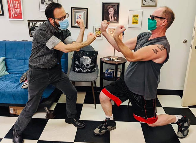 Josh Carples of Towering Above (formerly Barrens) and DJ Fake Name of the Abusements square off before Saturday's big grudge match.