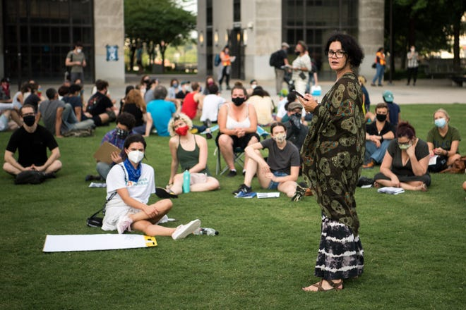 Jeanie Alexander speaks to participants in a group meetings during a People's Movement assembly at Public Square Park in Nashville, Tenn., Tuesday, July 7, 2020.