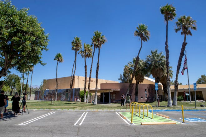 Hateful graffiti and other vandalism was discovered at the James O. Jessie Desert Highland Unity Center in Palm Springs, Calif., on Tuesday, July 7, 2020. The graffiti was quickly removed.