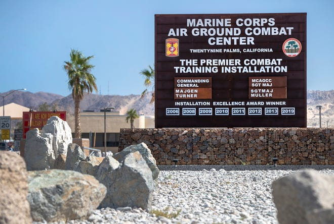 A Marine from the Twentynine Palms base was arrested and is expected to appear in court on Monday, according to the sheriff's department and jail records.