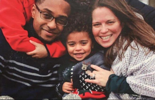 Quincy Wilson is seen with his parents, Tyrik and Erika. Quincy was struck in his skull by a falling rock in Grimes Glen in June.