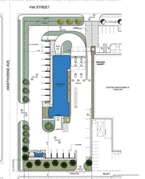 A design plan for Blue Wave Car Wash submitted to Sioux Falls' Planning Commission for approval.