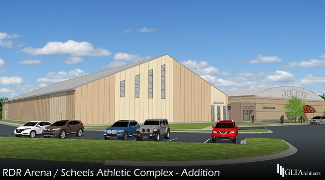 The Scheels Athletic Complex, shown here in a rendering from GLT Architects, could open for summer turf sports as early as summer 2021.