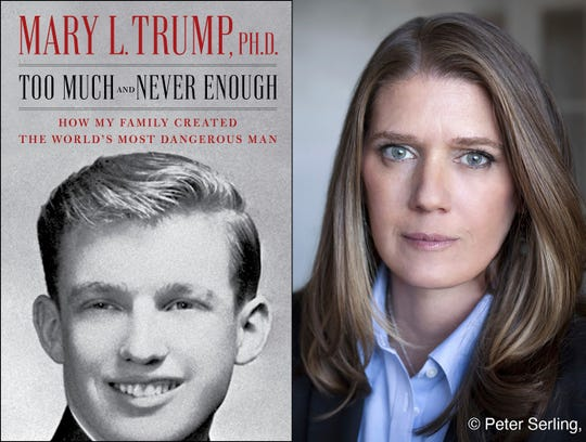 "This combination photo shows the cover art for ""Too Much and Never Enough: How My Family Created the World's Most Dangerous Man"", left, and a portrait of author Mary L. Trump, Ph.D. The book, written by the niece of President Donald J. Trump, was originally set for release on July 28, but will now arrive on July 14."