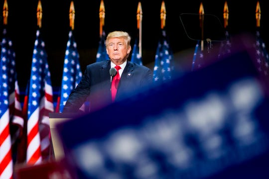 Donald Trump, Republican presidential candidate, speaks on the last night of the Republican National Conference at the Quicken Loans Arena in Cleveland, Ohio on Thursday, July 21, 2016. (Via OlyDrop)