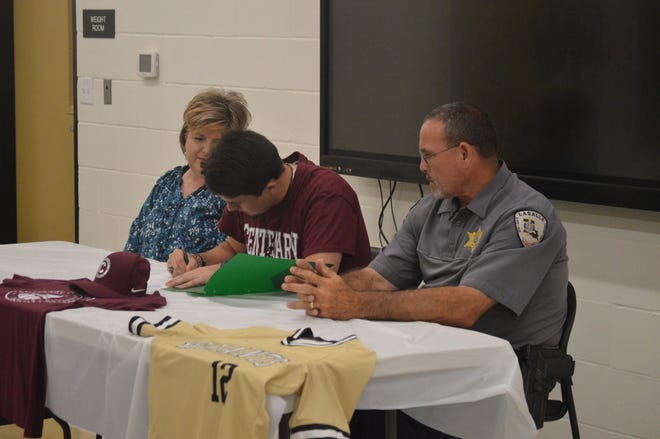 Jena senior Barrett Keene signs with Centenary College Tuesday.