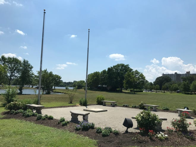 An empty spot marks the former home of a Christopher Columbus statue in Cooper River Park.
