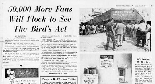 The top of the Detroit Free Press sports front did its part to hype Mark Fidrych's matchup against the Royals on the day of, July 9, 1976.
