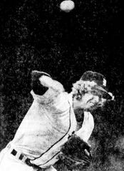 Rookie starter Mark Fidrych delivers a pitch against the Kansas City Royals on Friday, July 9, 1976. Fidrych allowed one run in a complete game, but lost, snapping an eight-game winning streak.