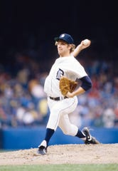 Detroit Tigers pitcher Mark Fidrych in action on the mound at Tiger Stadium.