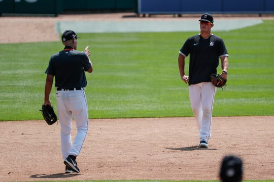 Alan Trammell instructs Detroit Tigers infielder Spencer Torkelson at third base during summer camp at Comerica Park in Detroit, Wednesday, July 8, 2020.