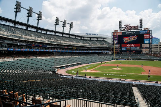 Detroit Tigers play an intrasquad game at training camp at Comerica Park in Detroit, Wednesday, July 8, 2020.