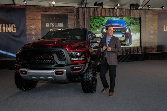 Jim Morrison, Head of Ram Brand, FCA North America, reveals the Ram Rebel TRX concept at the 2016 State Fair of Texas.