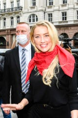 Amber Heard arrives at the High Court in London, Wednesday July 8, 2020.