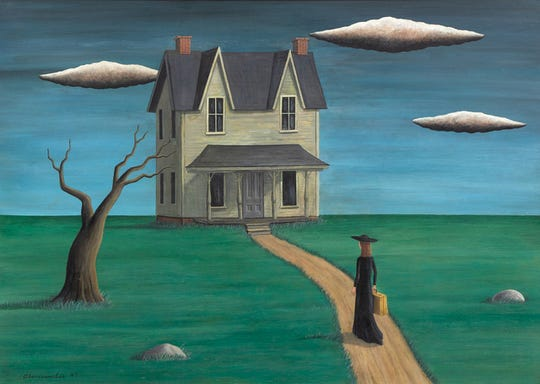 """Coming Home,"" purportedly by Gertrude Abercrombie, sold at action for $93,750 last year. The FBI is investigating it as a fake painting  created in the style of Abercrombie."