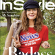 Drew Barrymore on August's InStyle magazine in vintage Detroit News T-shirt.