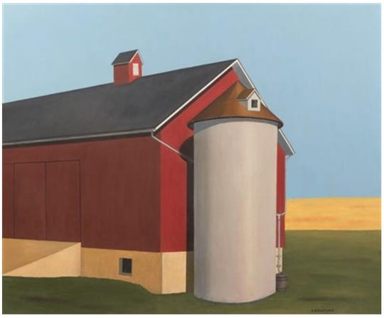 "D.B. Henkel received $299,000 from the sale of this painting, ""Smith Silo,"" that he said was by artist Ralston Crawford. The FBI is investigating the work as a fake done in the style of the artist."