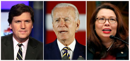 """In this combination photo, Tucker Carlson, from left, host of """"Tucker Carlson Tonight,"""" poses for photos on March 2, 2017, in New York, democratic presidential candidate, former Vice President Joe Biden speaks on June 17, 2020, in Darby, Pa. and Sen. Tammy Duckworth, D-Ill., speaks to Goldman Sachs 10,000 Small Businesses Summit, Feb. 14, 2018, on Capitol Hill in Washington."""