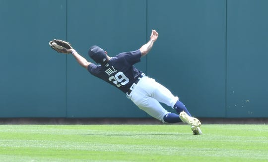 Outfielder Derek Hill made the play of the day during the Tigers' first intrasquad scrimmage at Comerica Park.