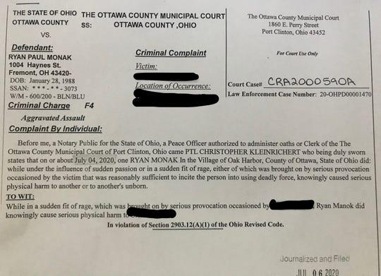Complaint record for Ryan Paul Monak.