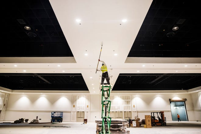 Renovations continue on the Caloosa Sound Convention Center & Amphitheater in downtown Fort Myers on Wednesday, July 8, 2020. It was formerly the Harborside Event Center. The center will hold its first public event, the 2020 Semi-Annual Home & Garden Show, on Sept. 19 and 20.