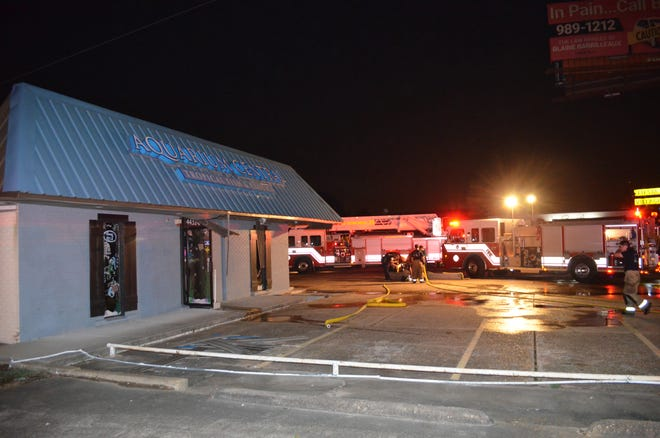 Firefighters put out a fire at Aquarium Central on Johnston Street.