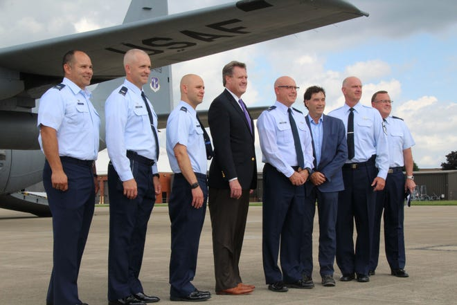 Congressmen Troy Balderson, right, and Mike Turner visited the 179th Airlift Wing in August 2019.