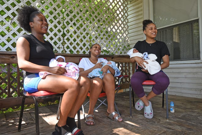 Daneesha Haynes with Emrie Haynes, Ariel Williams with Sincere Young, and Ashley Haynes with Adrion Haynes discuss being sisters and giving birth on the same day.