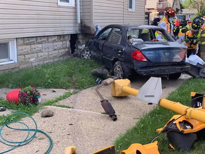 A three-car crash damaged a home's foundation Tuesday, July 7, in South Milwaukee.