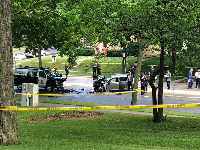 A 27-year-old Milwaukee man died Tuesday afternoon after colliding head-on with a Milwaukee police squad in the 900 block of East Oklahoma Ave.