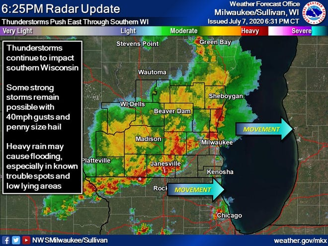 Storms moved across southeast Wisconsin Tuesday evening, resulting in power outages to thousands.