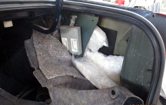 A partial concealment of the 88.9 pounds of methamphetamine uncovered by CBP officers.
