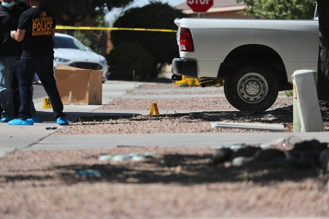 Las Cruces police investigate a homicide near a home on Desert Mesa Place Wednesday, July 8, 2020