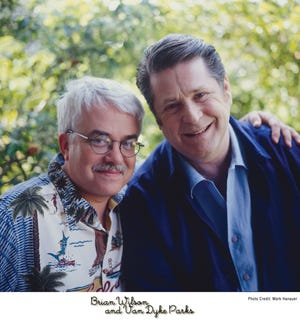 """A 1995 promo photo for """"Orange Crate Art."""" Van Dyke Parks (left) and Brian Wilson (right)"""