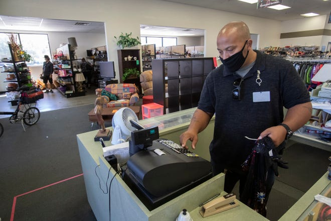 Tony White, store manager at Angel View in La Quinta was able to come back to work on May 19 after being sent on furlough due to the COVID-19 pandemic. He is photographed on July 8, 2020.