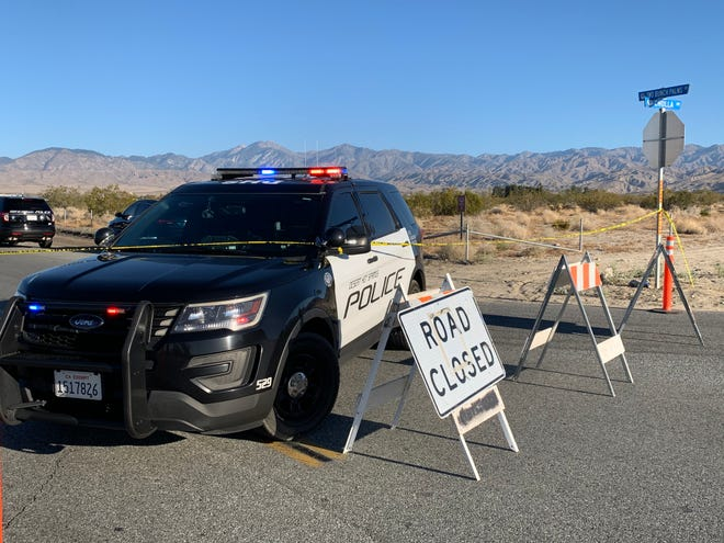 Desert Hot Springs police block Two Bunch Palms Trail at Cholla Drive after a bicyclist was killed Wednesday, July 8, 2020. The victim was hit by a vehicle and its driver fled.