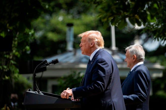 Donald Trump, López Obrador durante rueda de prensa.