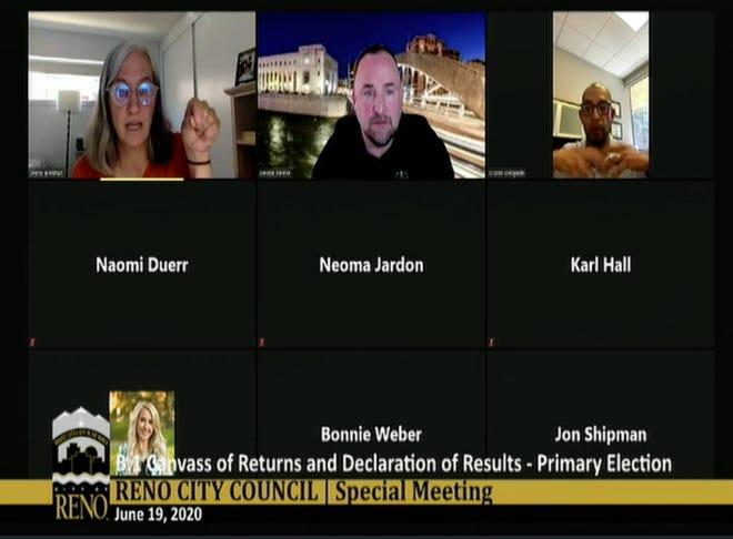 A screen capture of the Reno City Council's June 19, 2020 virtual meeting.