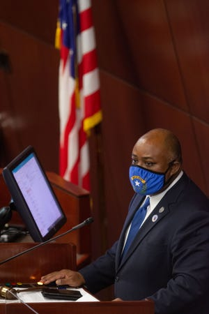 Nevada Assembly Speaker, Jason Frierson precides over over the Assembly on the first day of the 31st Special Session of the Nevada Legislature in Carson City, Nev., on Wednesday, July 8, 2020. (David Calvert/The Nevada Independent)