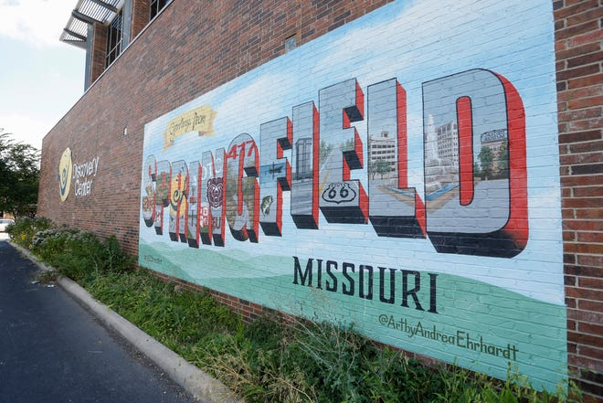 """The """"Greetings From Springfield"""" mural is located on the side of the Discovery Center in downtown Springfield."""